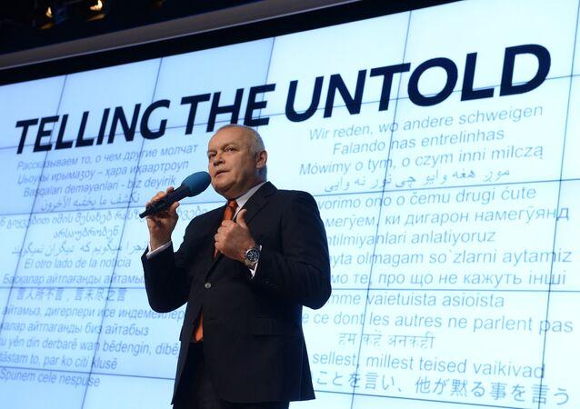 Rossiya Segodnya Director General Dmitry Kiselev at the presentation of the major international news brand, Sputnik