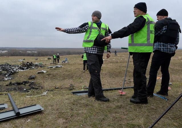 Dutch experts and OSCE representatives work at Malaysia Airlines Flight MH17 crash site. The airliner crashed en route from Amsterdam to Kuala Lumpur