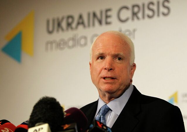 U.S. Sen. John McCain speaks during a press conference in Kiev, Ukraine, Thursday, Sept. 4, 2014