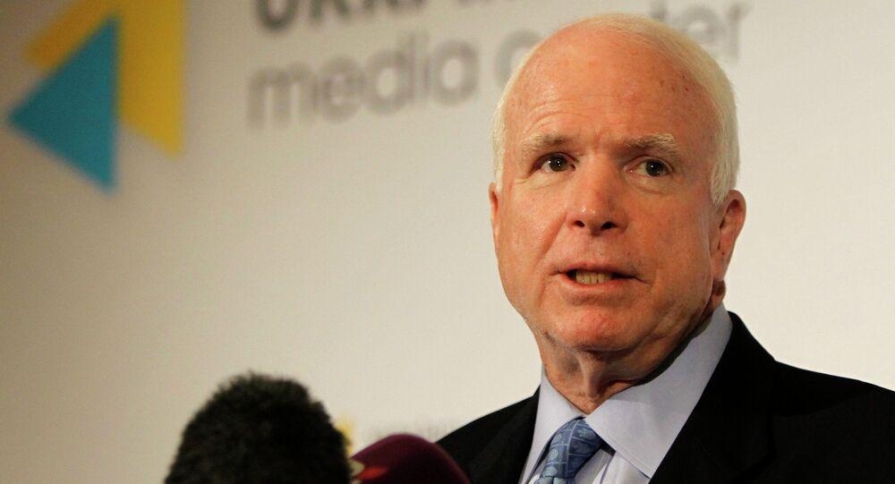 U.S. Sen. John McCain speaks during a press conference in Kiev, Ukraine, Thursday, Sept. 4, 2014