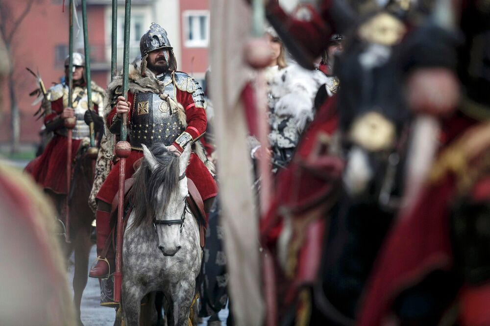 People parade in medieval costumes during the Independence Day celebrations in Gdansk November 11, 2014