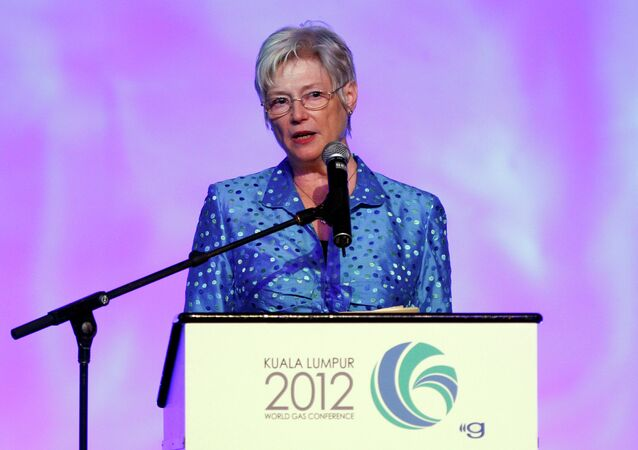 Executive Director of International Energy Agency (IEA) Maria van der Hoeven speaks at the 25th World Gas Conference in Kuala Lumpur, Malaysia, Tuesday, June 5, 2012