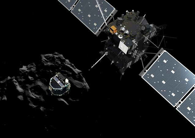 Lander Philae separating from the Rosetta spacecraft and descending to the surface of a comet, 12 November 2014
