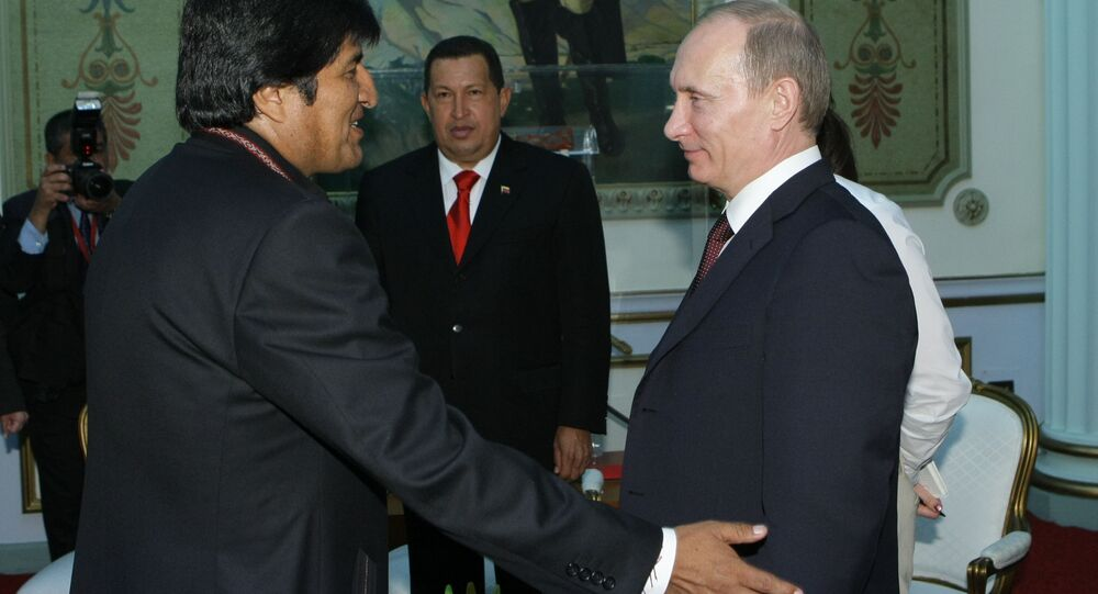 Russian Prime Minister Vladimir Putin meets with Bolivian President Evo Morales