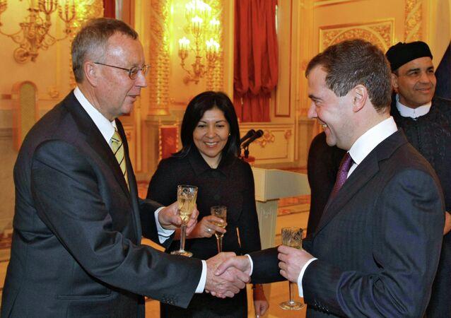 Russian President Dmitry Medvedev receives credentials from ten ambassadors