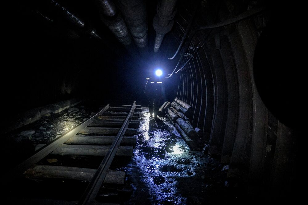 A miner inside the Glubokaya mine, Shakhtyorsk