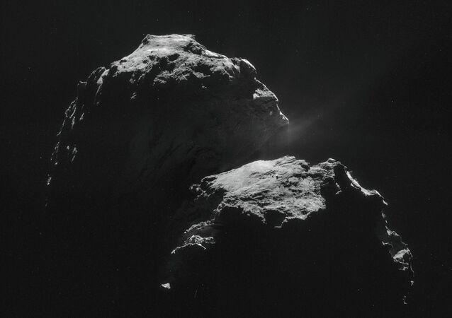 The picture of a comet of Churyumov-Gerasimenko taken by the Rosette spacecraft (Rosetta). November 11, 2014