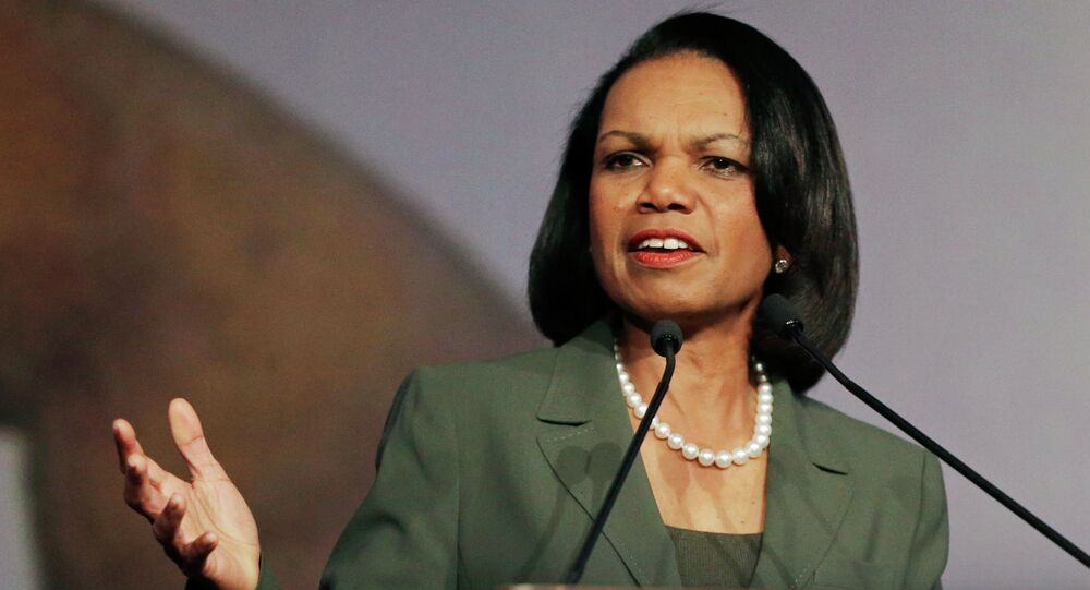 Former Secretary of State Condoleezza Rice gestures while speaking before the California Republican Party 2014 Spring Convention in Burlingame, Calif.