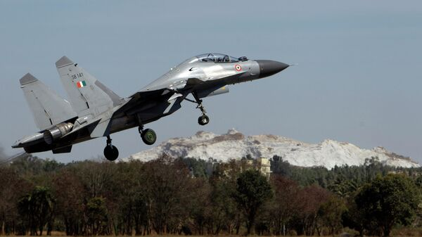 Indian air force Sukhoi Su-30 fighter aircraft takes off at the opening ceremony of Aero India 2011 in Yelahanka air base on the outskirts of Bangalore, India, Wednesday, Feb. 9, 2011 - Sputnik International