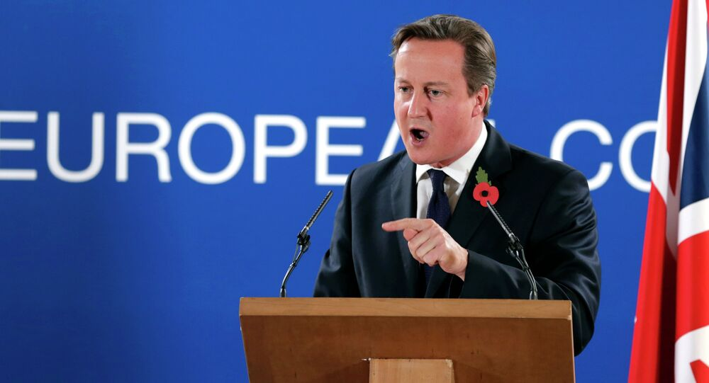 British Prime Minister David Cameron speaks during a media conference after an EU summit at the EU Council building in Brussels. Archive photo