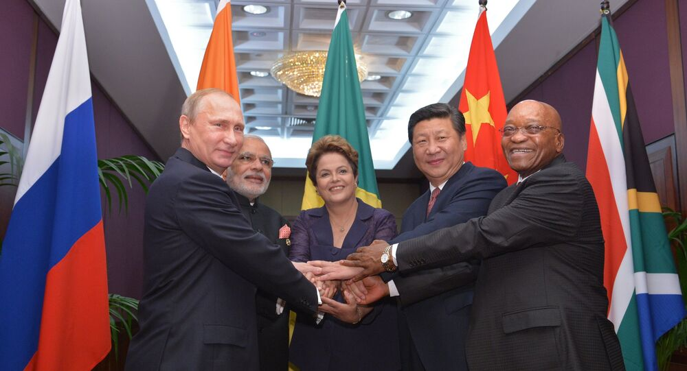From left: Russian President Vladimir Putin, Indian Prime Minister Narendra Modi, President of Brazil Dilma Rousseff, Chinese President Xi Jinping and the President of South Africa Jacob Zuma