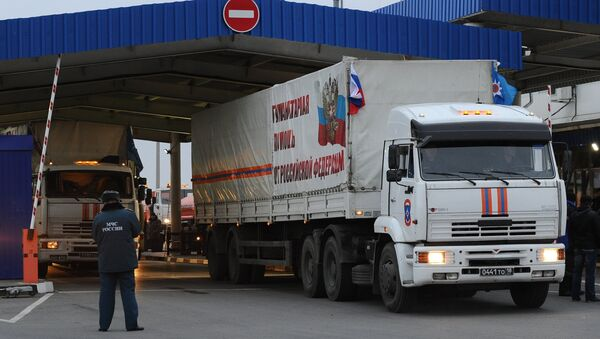 The eighth humanitarian convoy from Russia to eastern Ukraine is to reach its destination on Sunday. - Sputnik International