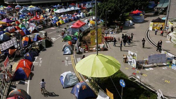 Protester's camp in Hong Kong - Sputnik International