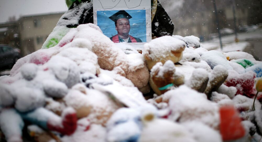 Snow falls on a memorial on the 100th day since the shooting death of Michael Brown in Ferguson, Missouri