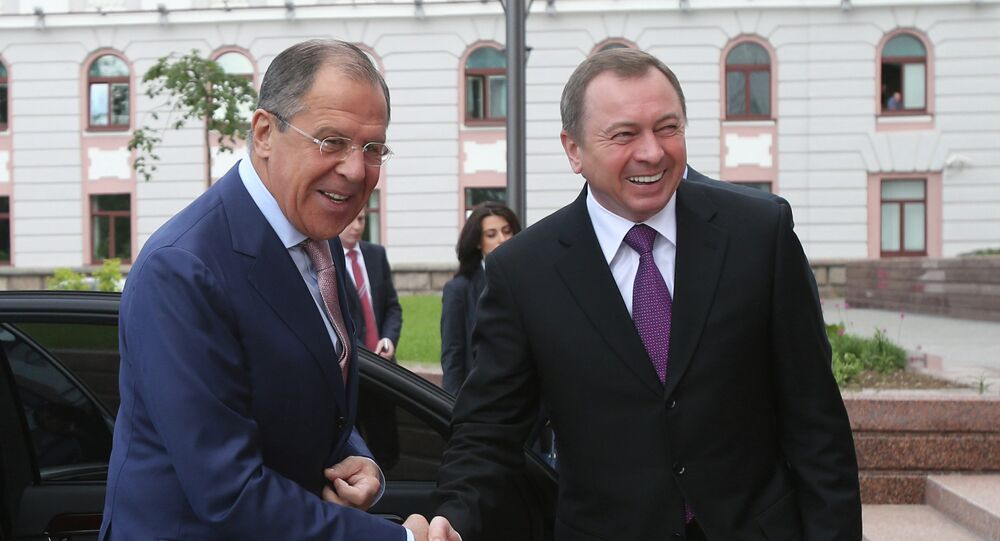 Russian Foreign Minister Sergei Lavrov meets his Belarussian counterpart Vladimir Makei