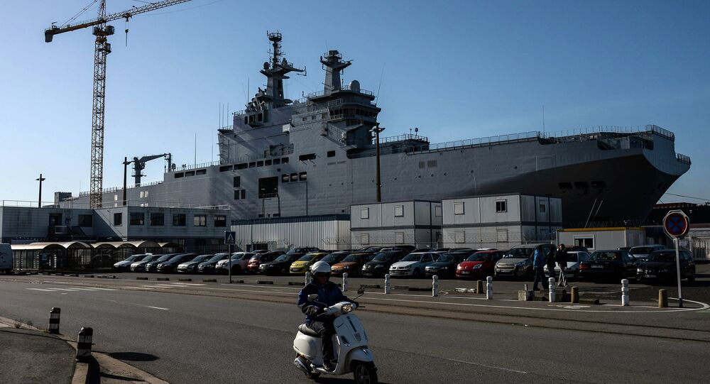 Vladivostok amphibious assault ship of the French Mistral class in the docks of SNX France