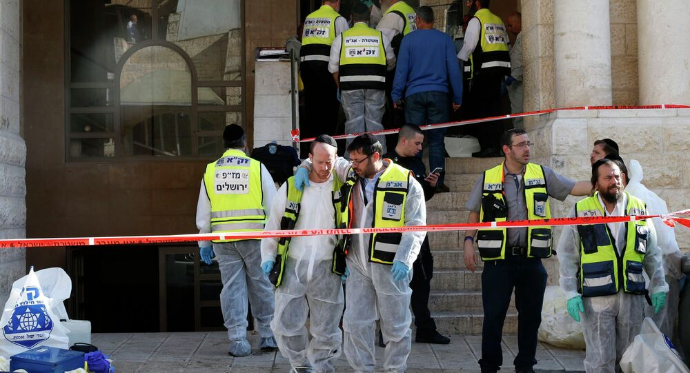The scene of an attack at a Jerusalem synagogue
