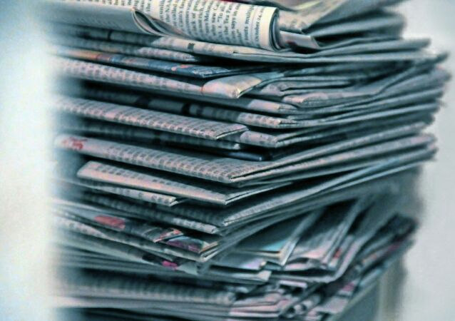 Old newspapers on a pile