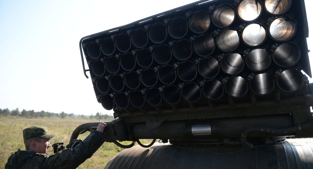 Grad multiple rocket launcher systems during drills