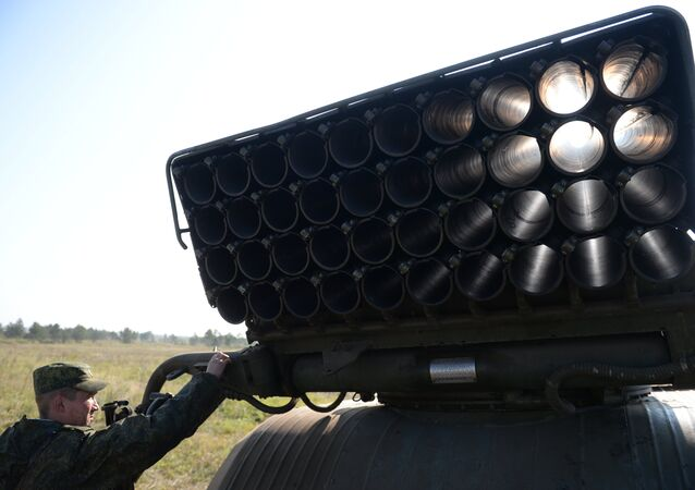 Deployment of Grad multiple rocket launcher systems during an exercise in missile strike