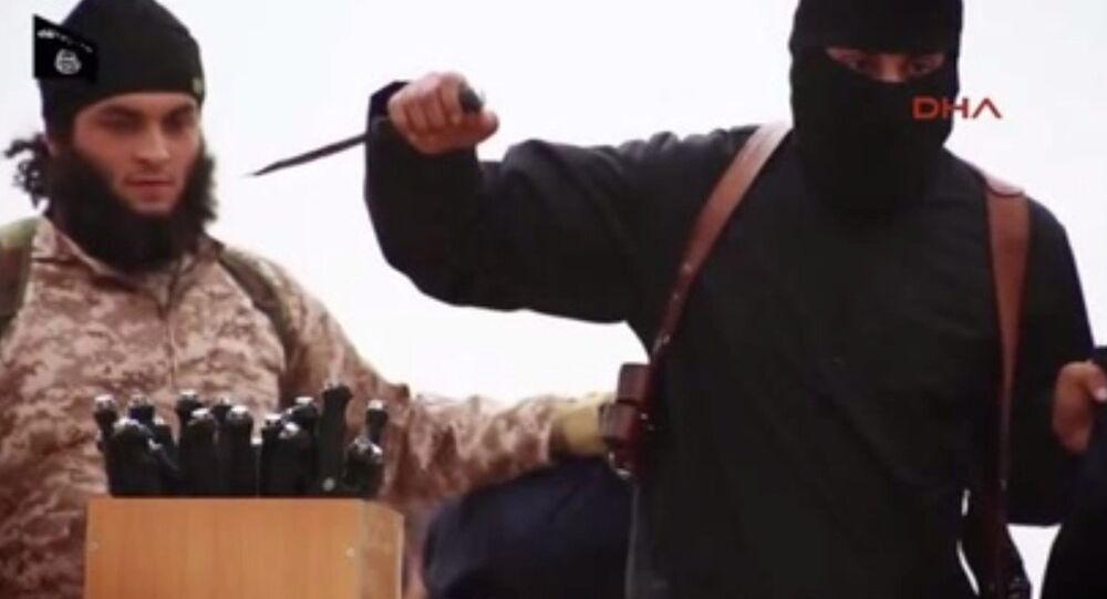 ISIL fighter with knives