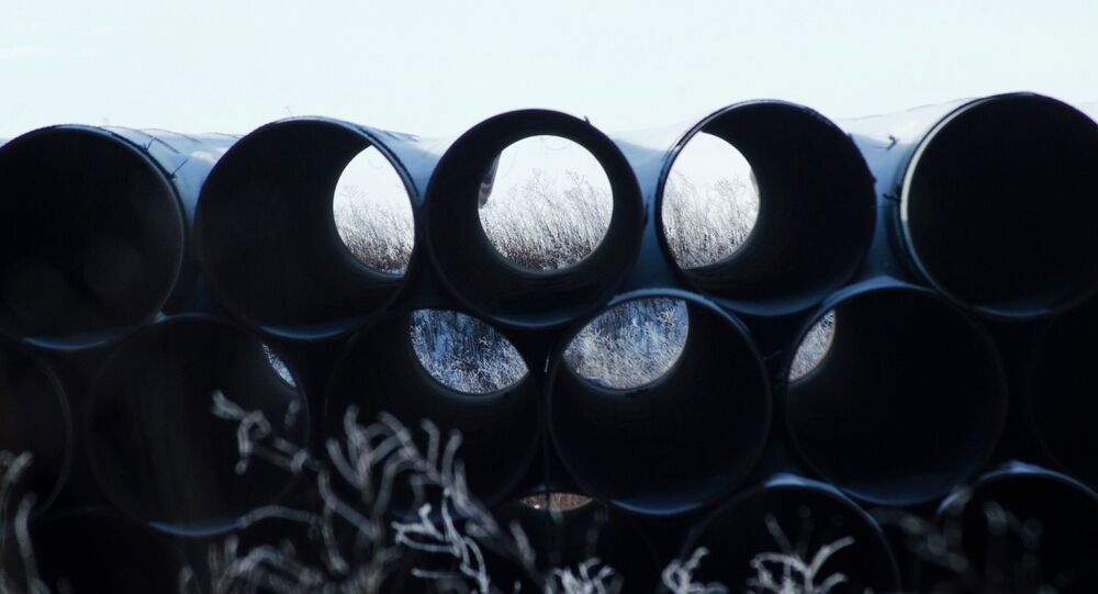 A depot used to store pipes for Transcanada Corp's planned Keystone XL oil pipeline is seen in Gascoyne, North Dakota November 14, 2014