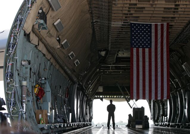 A serviceman stands inside the US military transport aircraft C-5 Galaxy. File photo