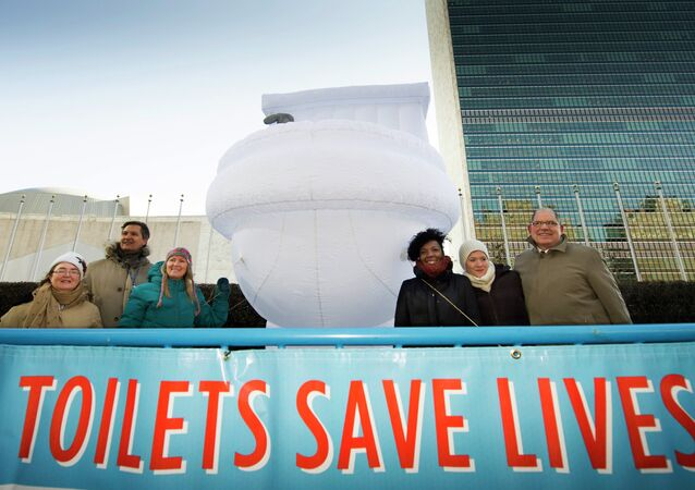 "A small group of UN staff, with a ""Toilets Save Lives!"" banner, poses for a photo with a 15-foor-high inflatable toilet, in front of United Nations headquarters"