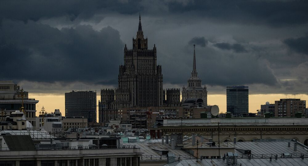 View of Russian Ministry of Foreign Affairs building, one of the Stalinist 'Seven Sisters'