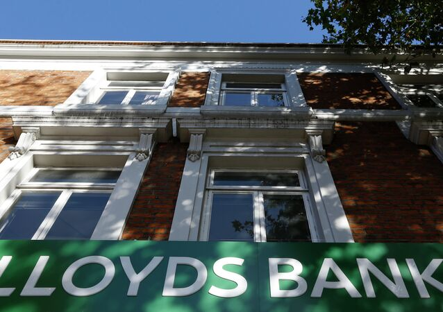 The sign on a branch of Lloyds Bank in London