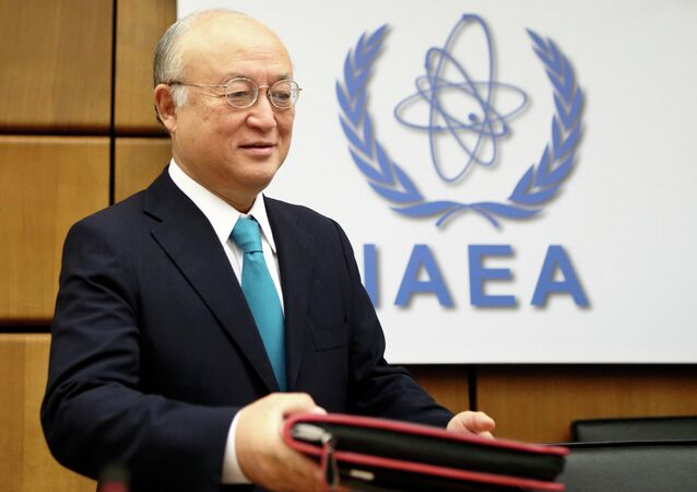 International Atomic Energy Agency (IAEA) Director General Yukiya Amano arrives for a board of governors meeting at the IAEA headquarters in Vienna November 20, 2014
