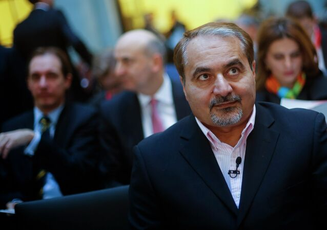 Hossein Mousavian, center, former spokesman of Iran's nuclear diplomacy team for negotiations with the International Atomic Energy Agency