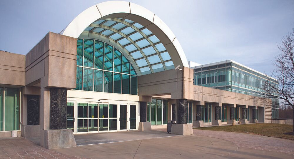 View of an entrance to the building of headquarters of CIA