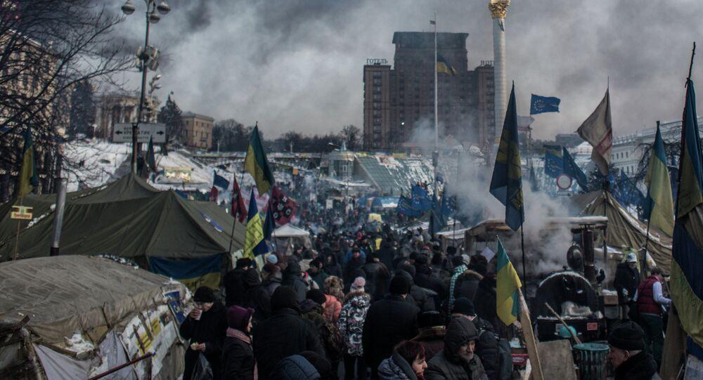 The camp of pro-European integration protesters on Maidan Nezalezhnosti in Kiev