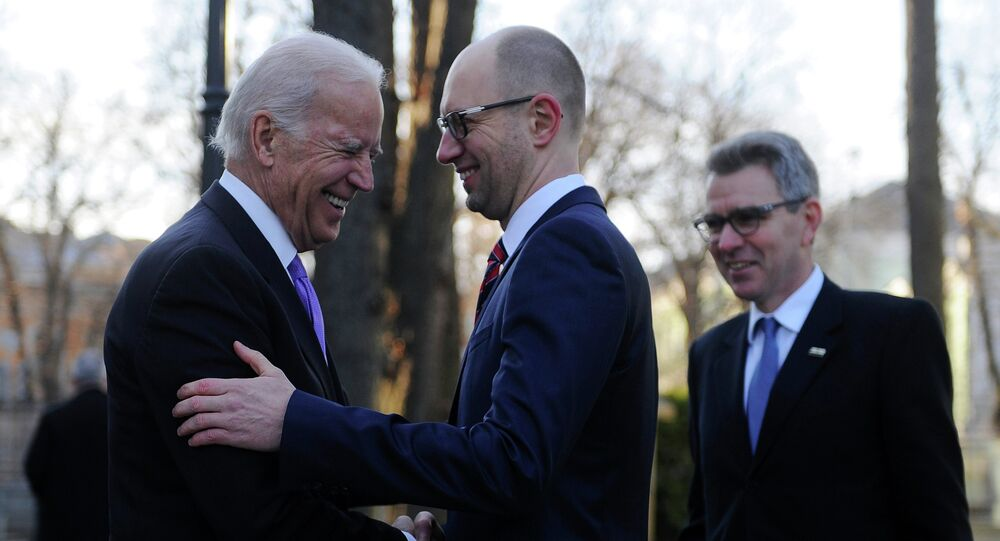 U.S. Vice President Joe Biden, left, and Ukrainian Prime Minister Arseniy Yatsenyuk