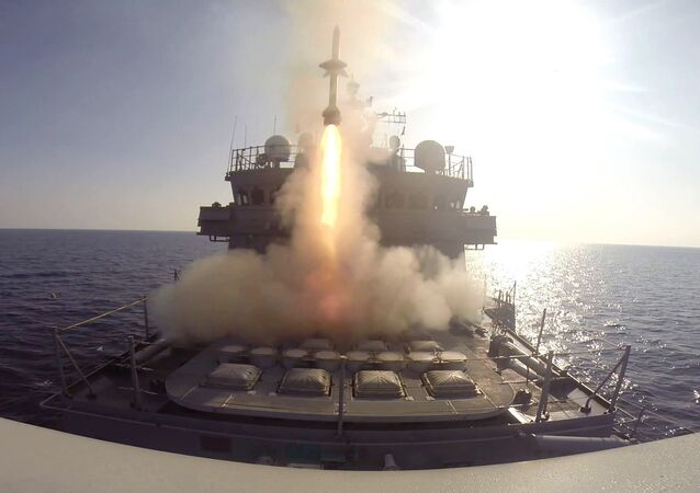 South Korean destroyer Uljimundeok during a fire drill to mark the fourth anniversary of North Korea's artillery attack in the West Sea, South Korea, Friday, Nov. 21, 2014