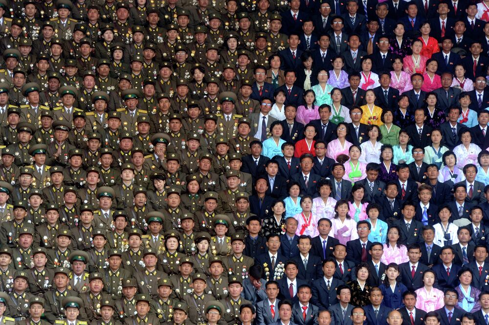 Soldiers of the Korean People's Army gather at the Kim Il-sung Stadium.