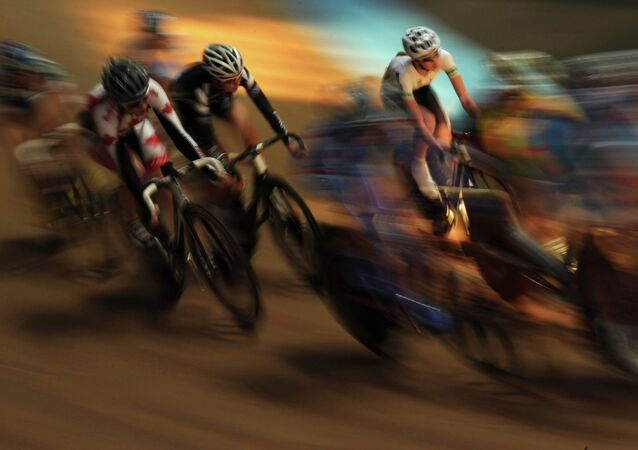 A team points race during the Junior Track Cycling World Championships