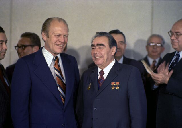 General Secretary of the Central Committee of the Soviet Communist Party Leonid Brezhnev, right, and the President of the United States of America Gerald Rudolph Ford