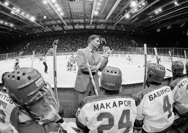 Senior CSKA and Soviet national hockey team coach and Merited Coach of the USSR Viktor Tikhonov, center, during USSR Hockey Championship.