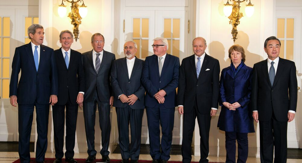 US Secretary of State John Kerry, Britain's Foreign Secretary Philip Hammond, Russian Foreign Minister Sergey Lavrov, Iranian Foreign Minister Mohammad Javad Zarif, German Foreign Minister Frank-Walter Steinmeier, French Foreign Minister Laurent Fabius, former EU foreign policy chief Catherine Ashton and Chinese Foreign Minister Wang Yi