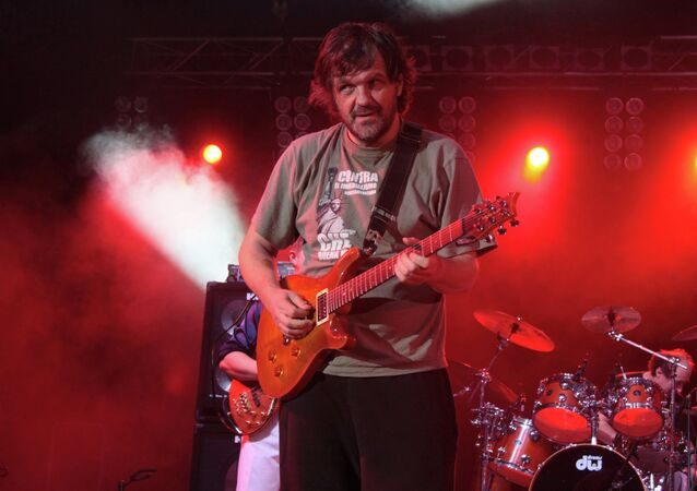 Renowned Serbian filmmaker Emir Kusturica performing with The No Smoking Orchestra at Kiev's Balkanfest music festival.