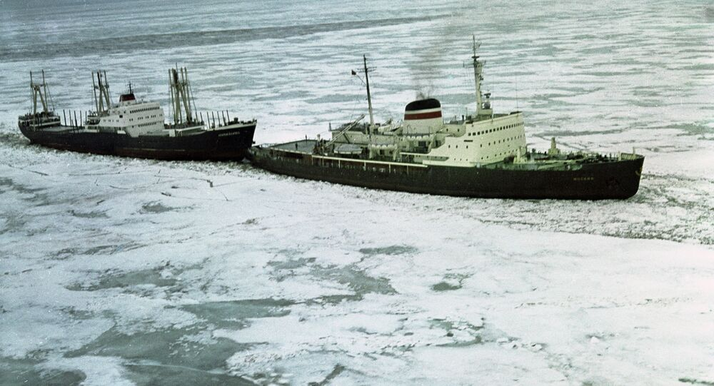 Icebreaker Moscow leads a convoy of ships