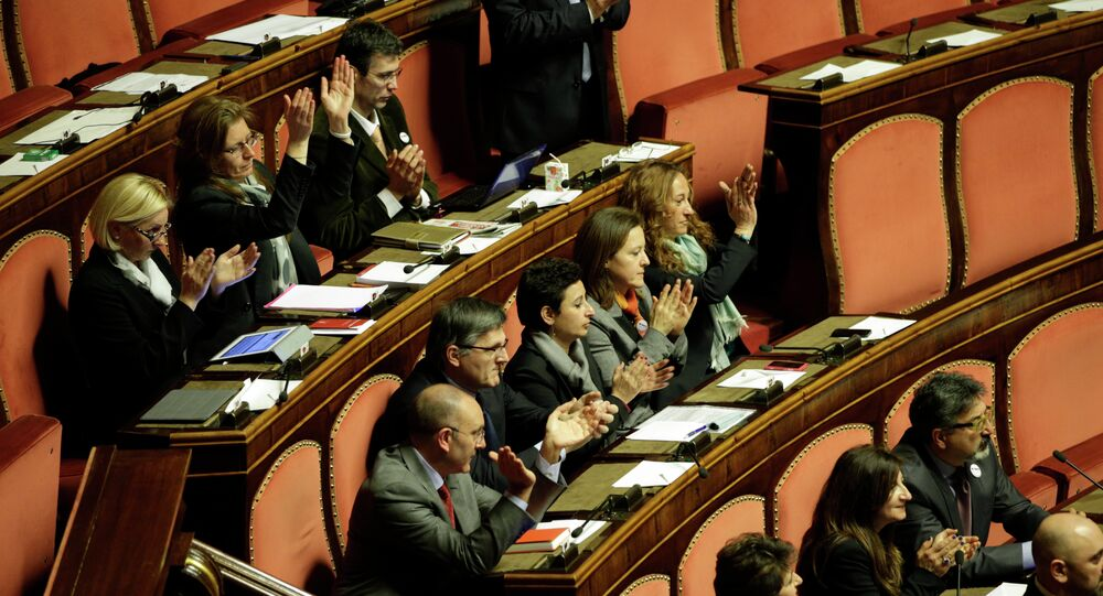 A group of Five Star Movement Senators clap their hands during the Italian Parliament inaugural session, in Rome's Senate. (File)