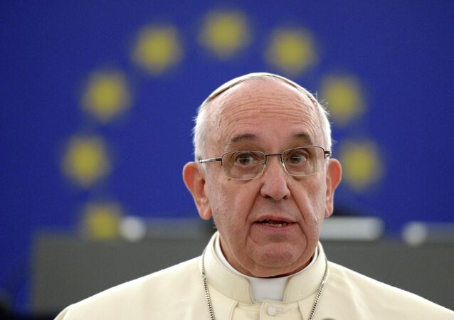 Pope Francis addresses the European Parliament  in Strasbourg, eastern France