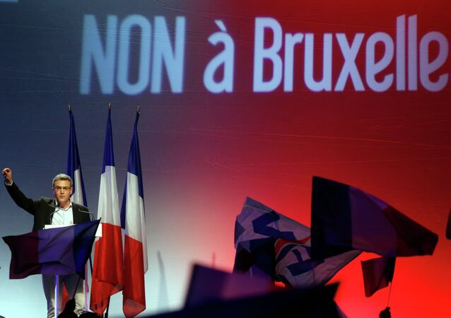 French far-right National Front party candidate for the European parliament election Aymeric Chauprade delivers his speech in Paris