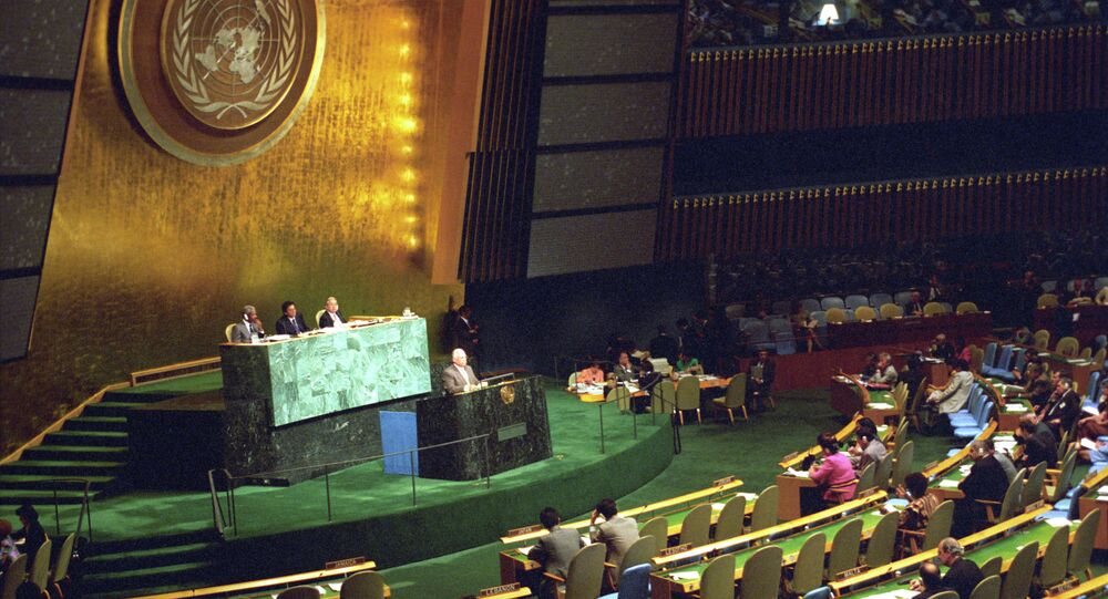 Viktor Chernomyrdin makes a speech at the 19th special session of the UN General Assembly