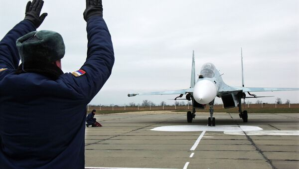 This Sukhoi Su-27 SM Flanker fighter will serve with the 62nd Fighter Regiment of the 27th Combined Air Division of the Russian Air Force at Belbek airfield near Sevastopol. - Sputnik International