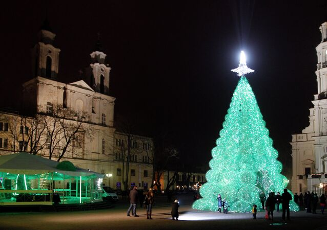 The Christmas Tree at the Rotuses square in Kaunas, Lithuania