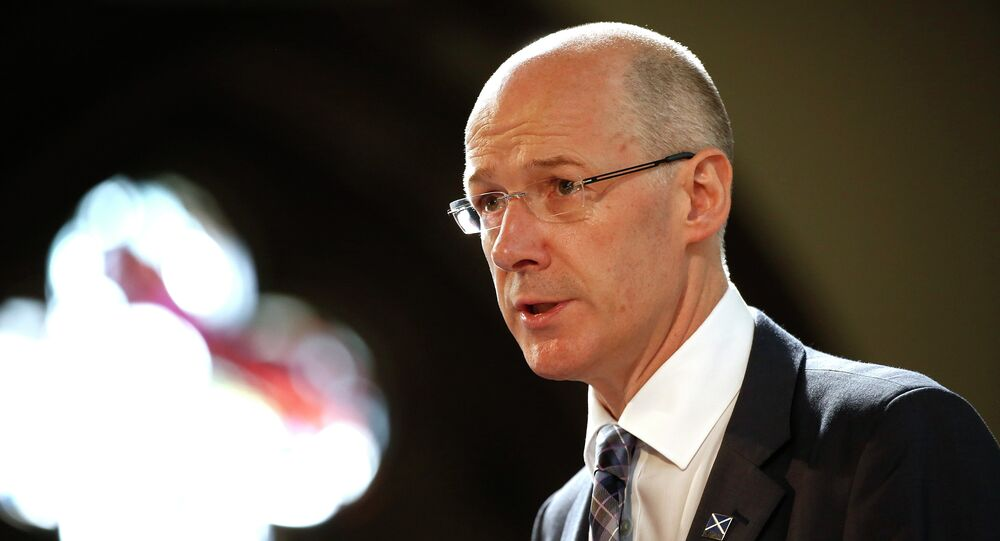 John Swinney, Scotland's finance secretary, speaks during the Commonwealth Games Business Conference in Glasgow